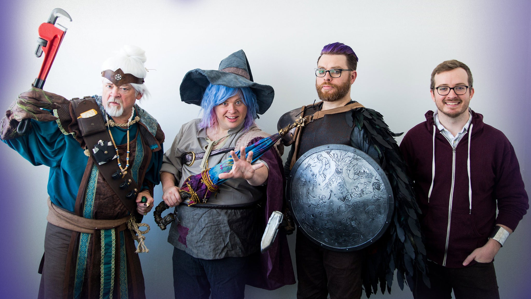The brothers and their father, Clint dressed up as their characters from the Balance Arc of The Adventure Zone.