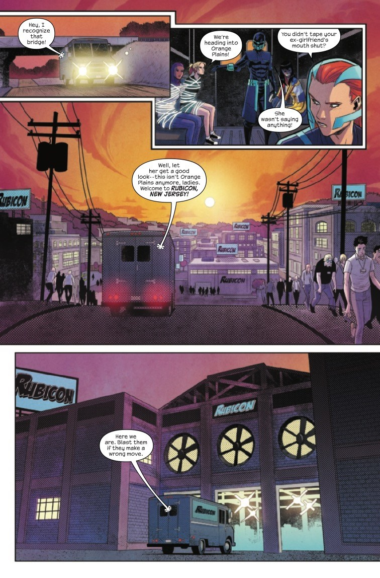 The Magnificent Ms Marvel #8: Page 4, The group drives through Rubicon, NJ which is crawling with zombies.