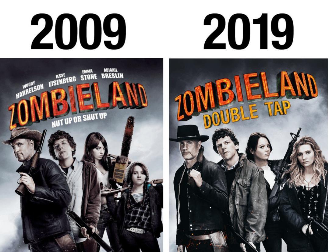 The Ten Year Challenge for Zombieland 2.