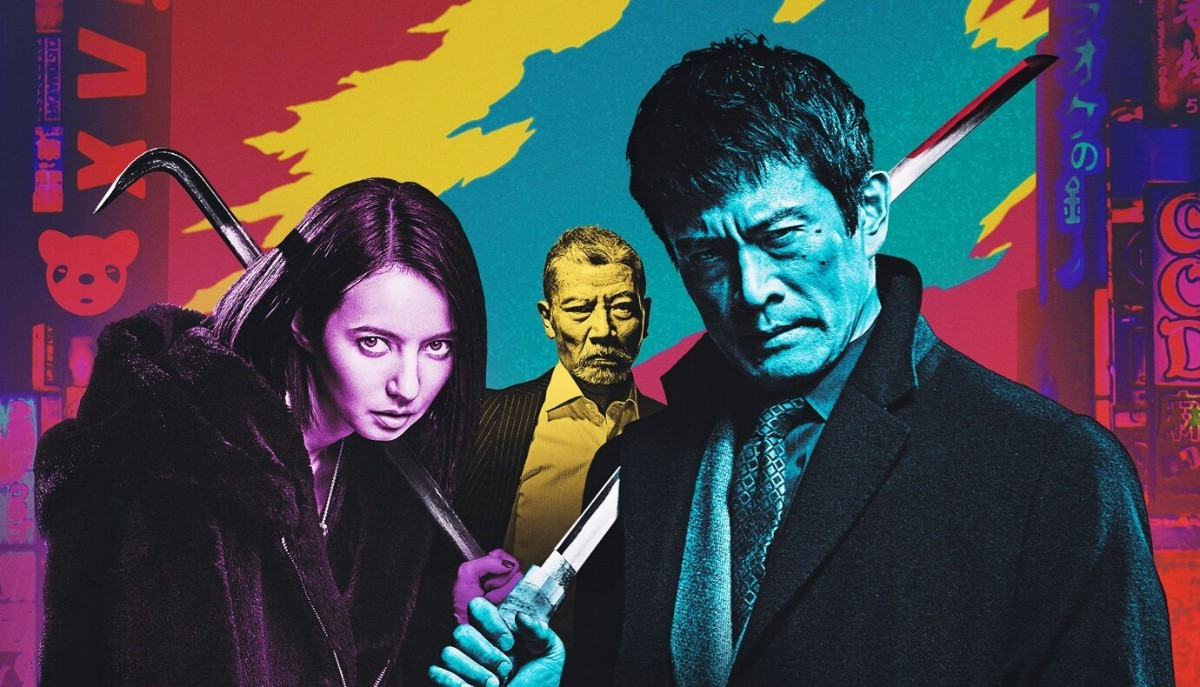 First Love: from left to right Becky (Rebecca Rabone), Sansei Shiomi, and Seiyo Uchino, playing yakuza gangster roles.