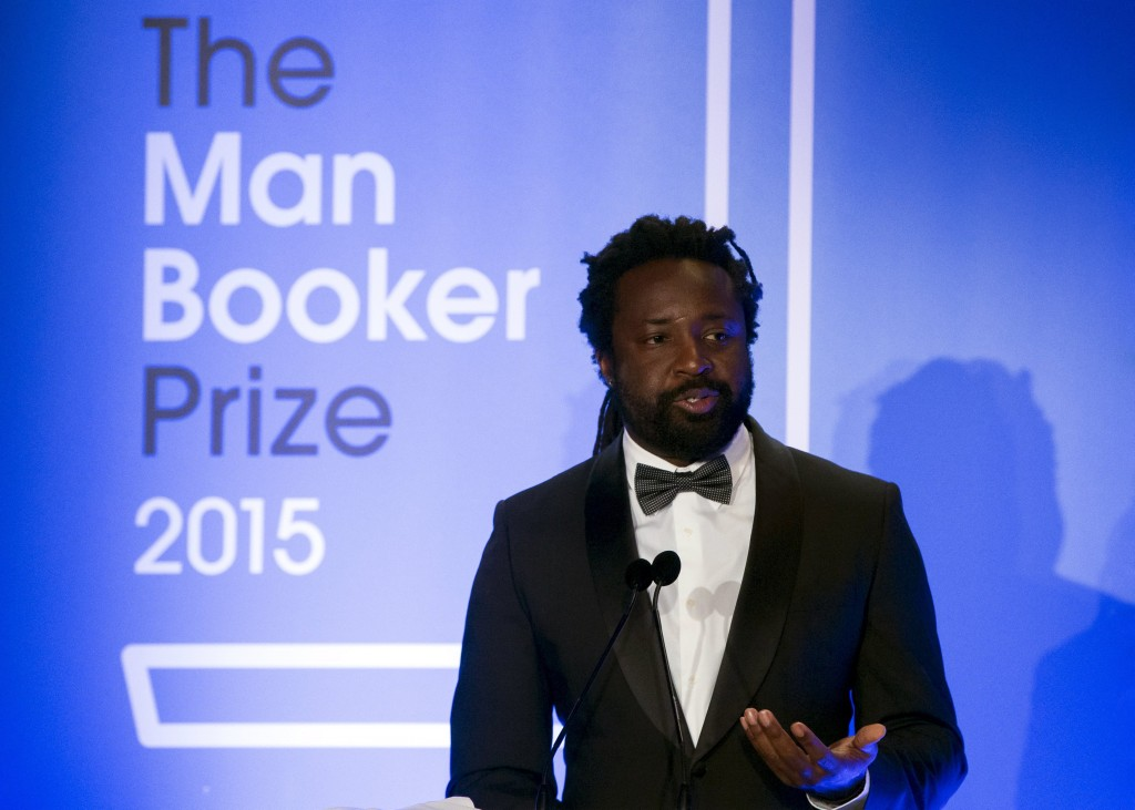 Marlon James Accepting the Man Booker Prize for A Brief History Of Seven Killings.