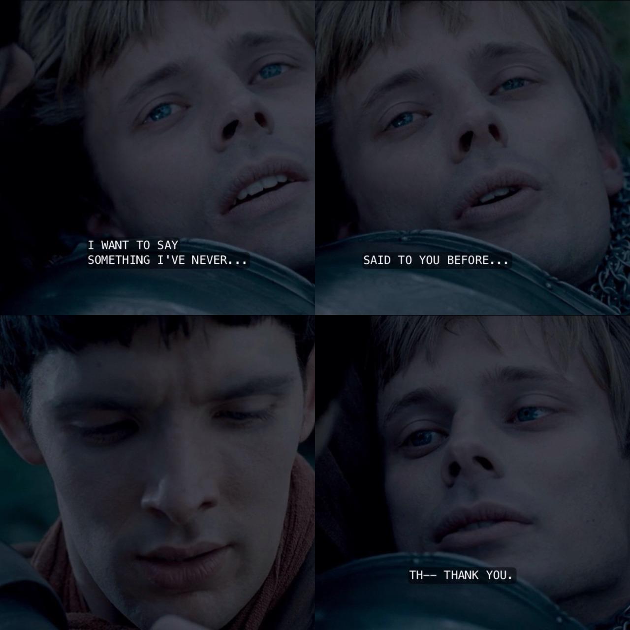Arthur thanks Merlin as he dies in the series finale.