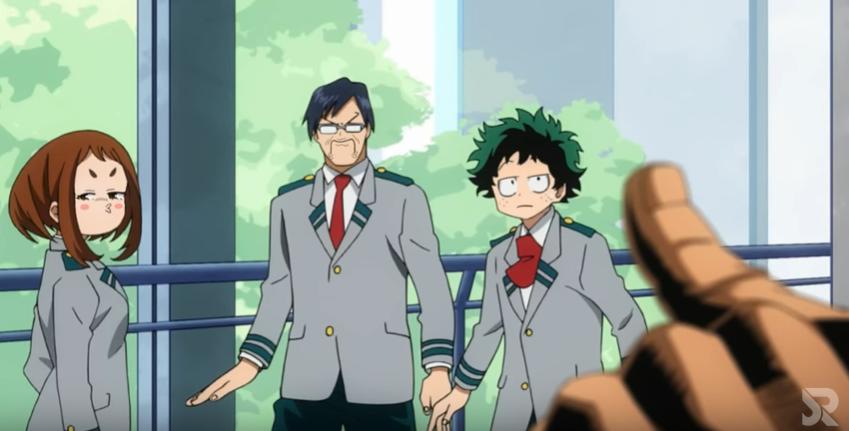 All-Might makes a joke. Midoriya, Ida, and Ochako are unimpressed.