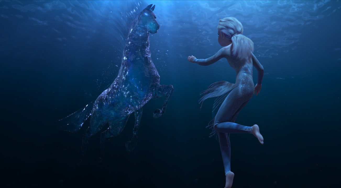 Elsa is underwater with the water spirit in Frozen 2.