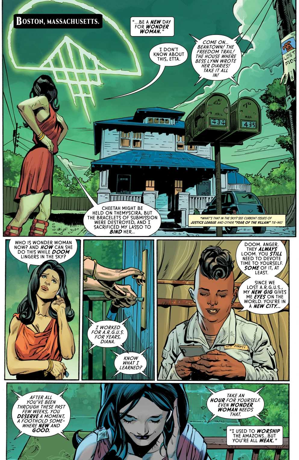 Wonder Woman #82, Page #5: Diana talks to Etta in Boston.