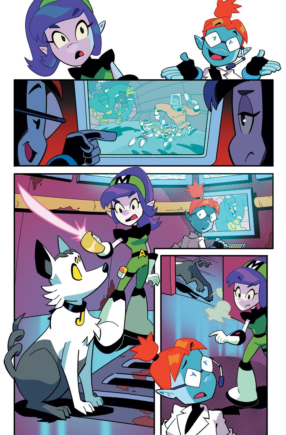 Cosmo the Mighty Martian: Page 14, Astra telling Jojo to go help the awesome crew.