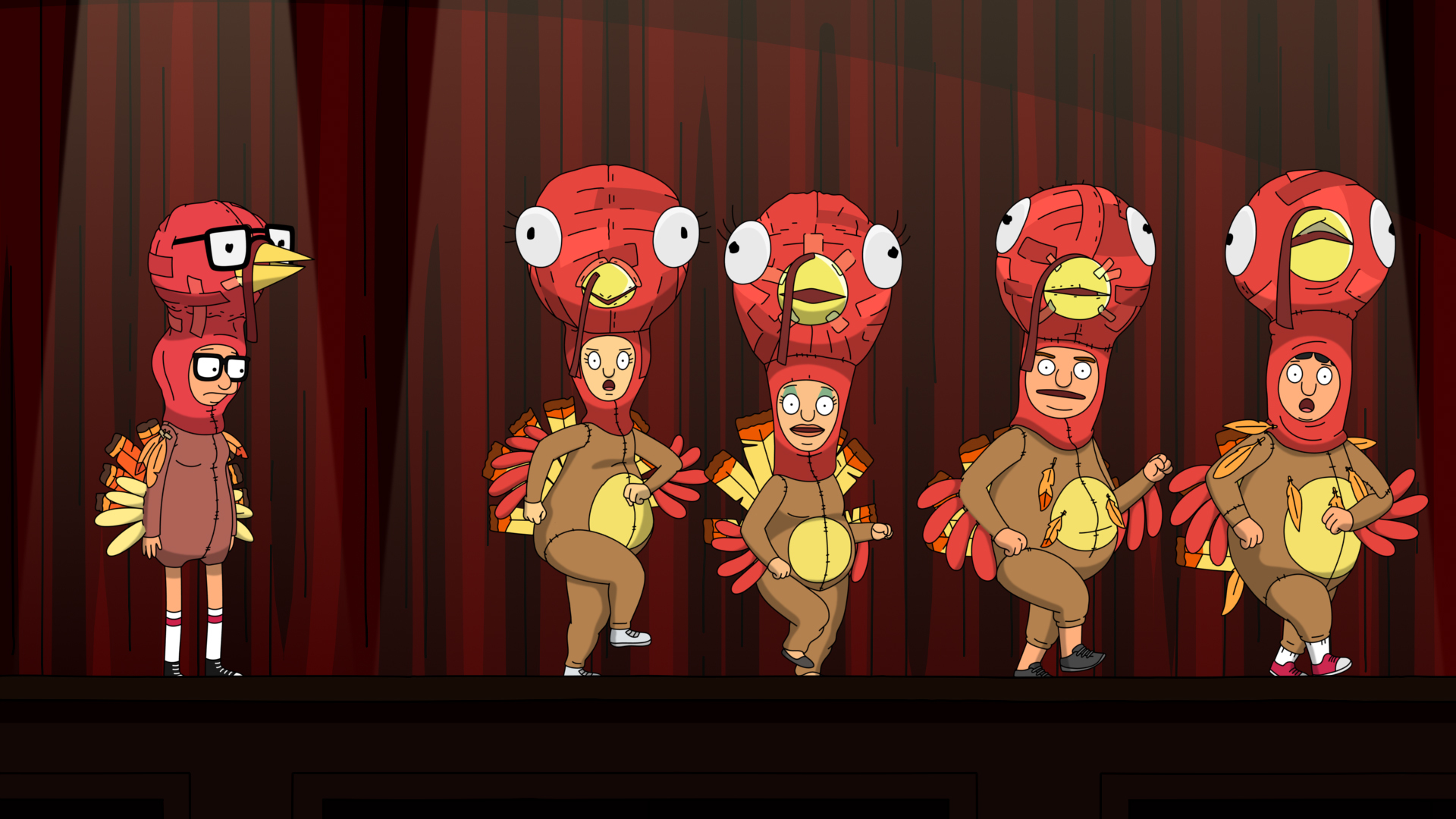 "In ""Bob's Burgers'"" fifth Thanksgiving special, Tina, Jocelyn, Tammy, Zeke, and Gene put on 'The Quirky Turkey.'"