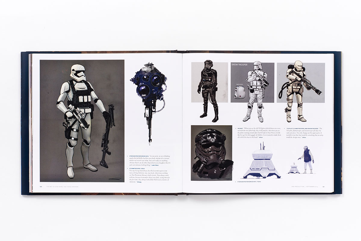 An open page to the Star Wars: The Force Awakens art book.