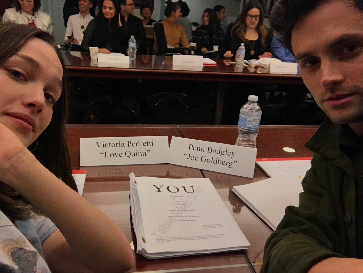 "Joe ""Penn"" and Love ""Victoria"" during a readthrough for YOU Season 2 -- Penn & Netflix, 2019."
