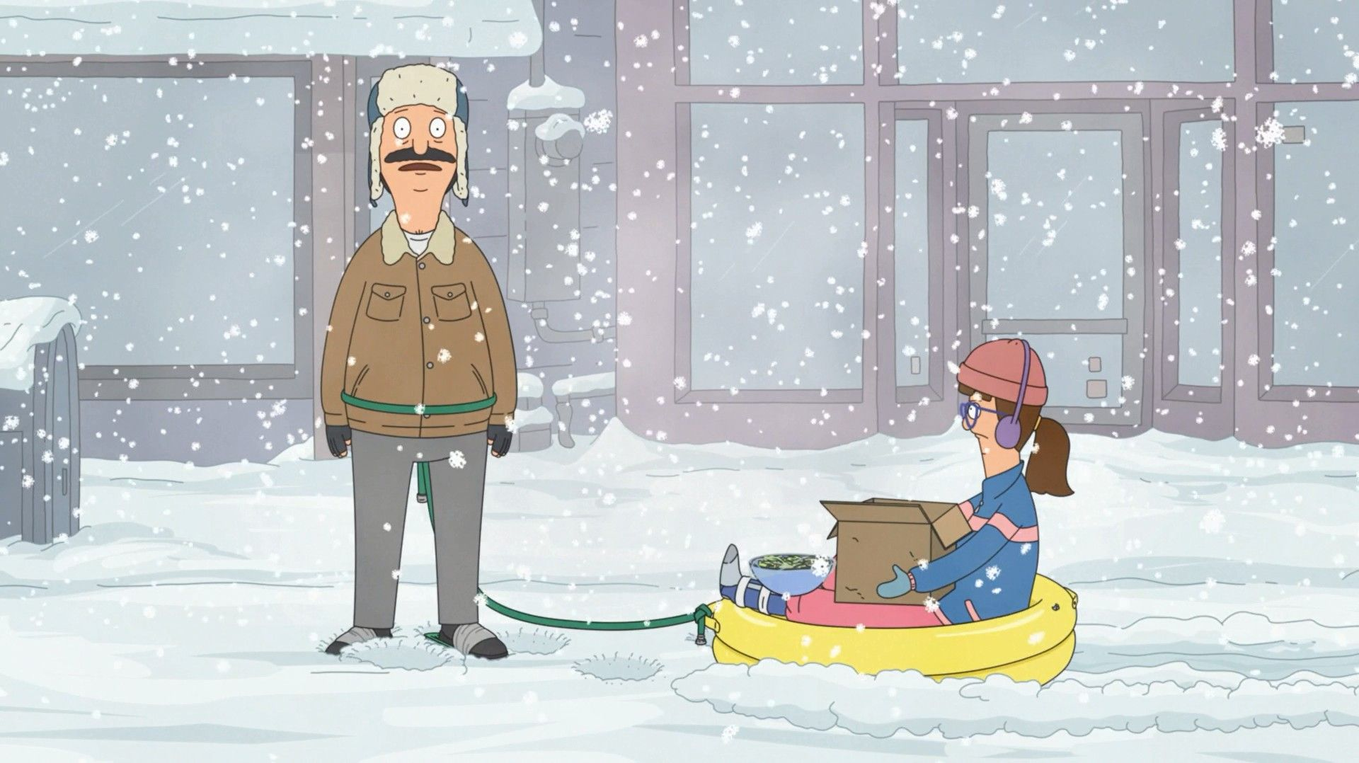 "In ""Bob's Burgers'"" fourth Thanksgiving special, Bob rests from dragging Gayle and her cat through the snow."