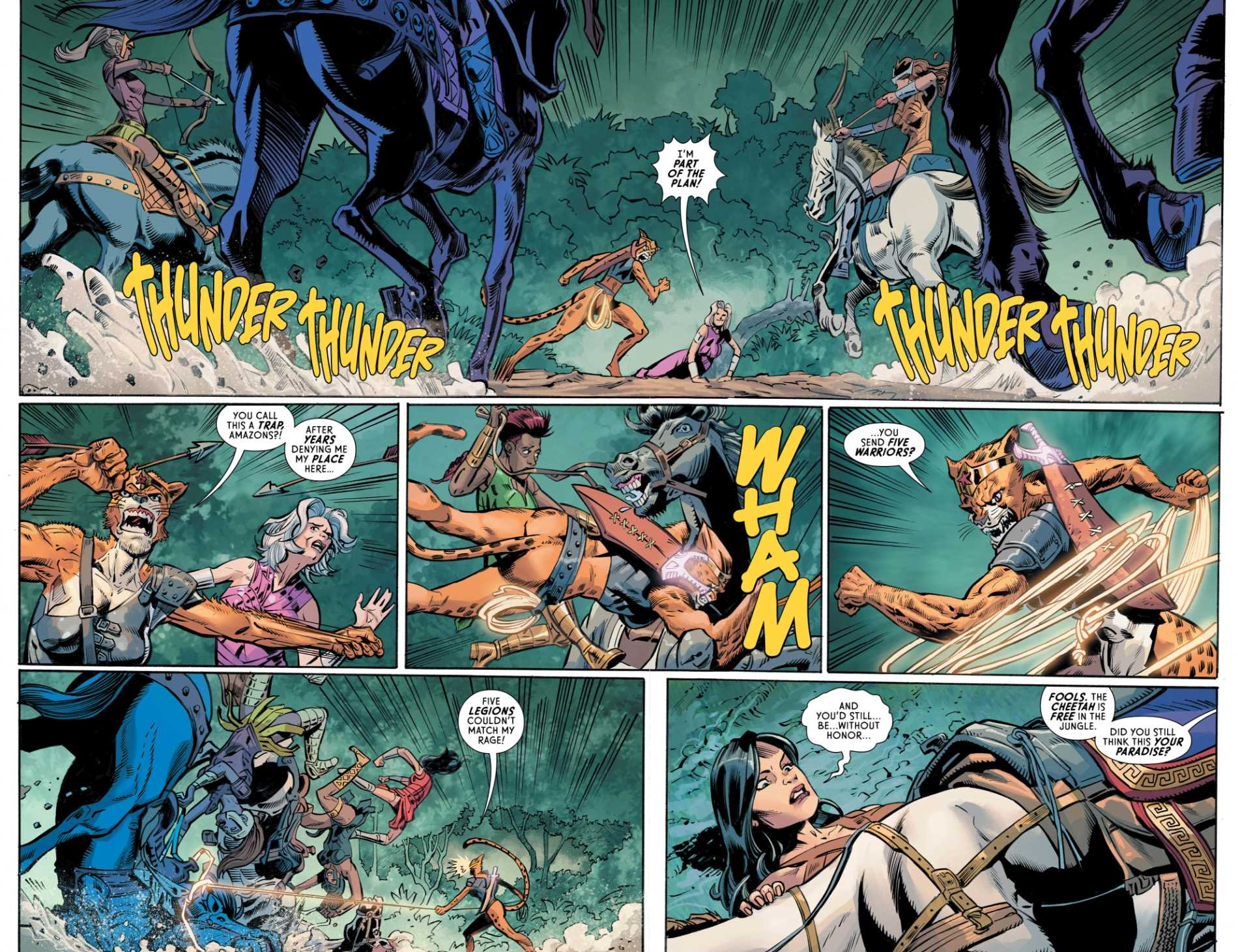 Wonder Woman #82, Page #2/3: Cheetah battles with Amazons.
