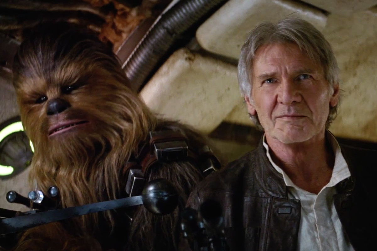 Chewbacca and Han Solo flying the Millenium Falcon.
