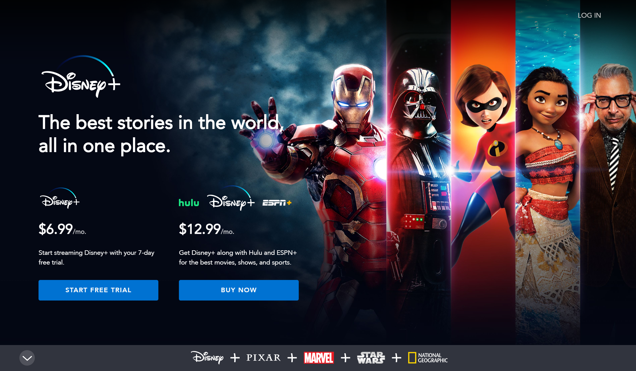 Disney+ Homepage for non-logged in users displaying prices and package options