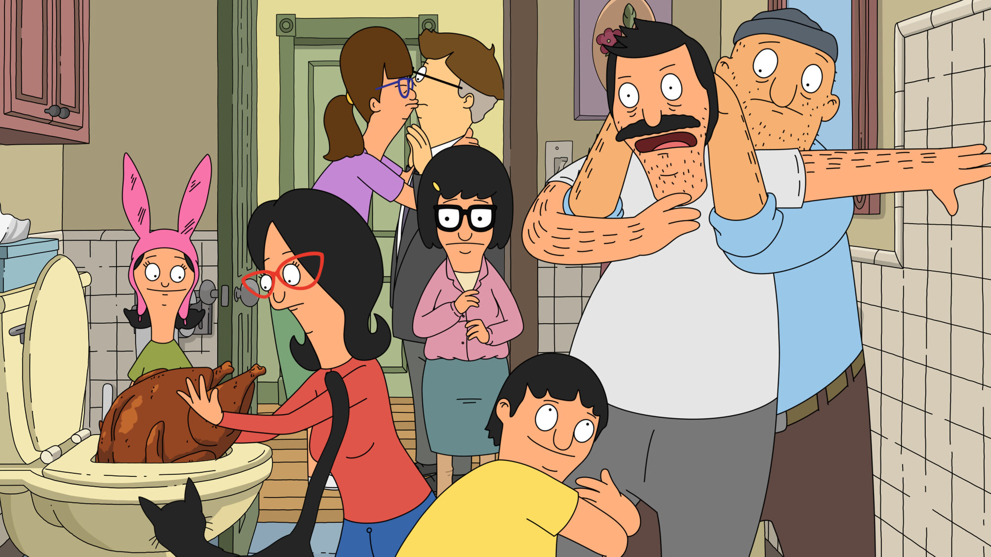 In Bob's Burgers' second Thanksgiving special, Teddy and Gene restrain Bob as Linda and Louise inspect the turkey. In the background, Gayle kisses a stunned Mort and Tina looks on with concern.