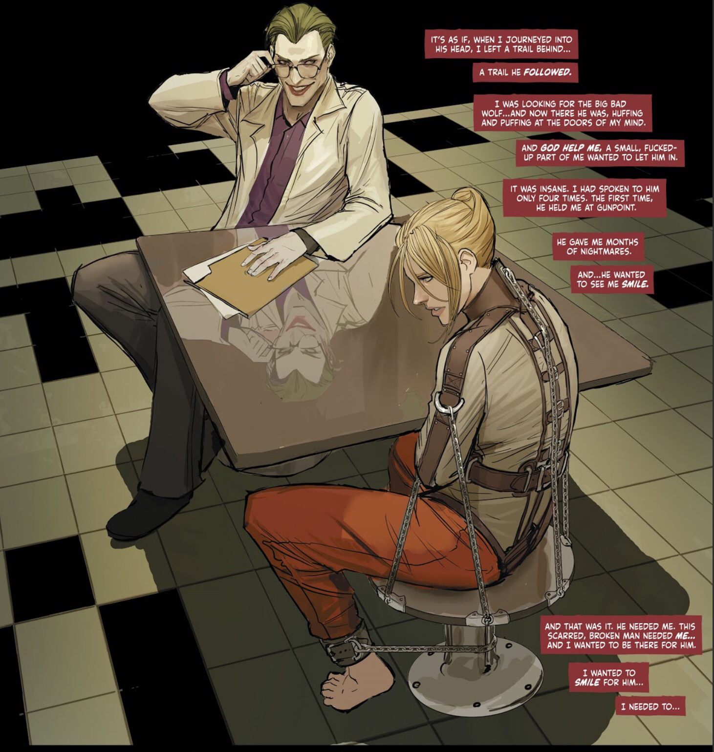 Roles Reversed in Arkham in Harleen #2.