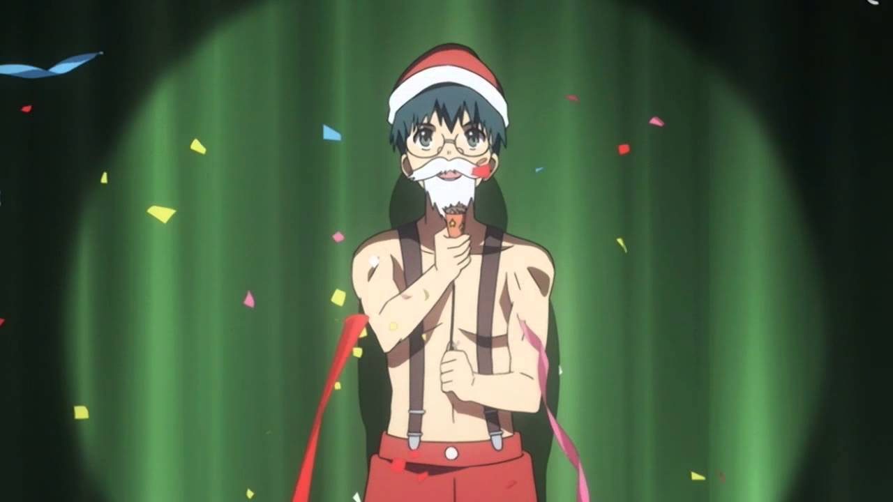 Kitamaru from Toradora against a green curtain wearing a Santa hat, beard, and pants; Christmas episode