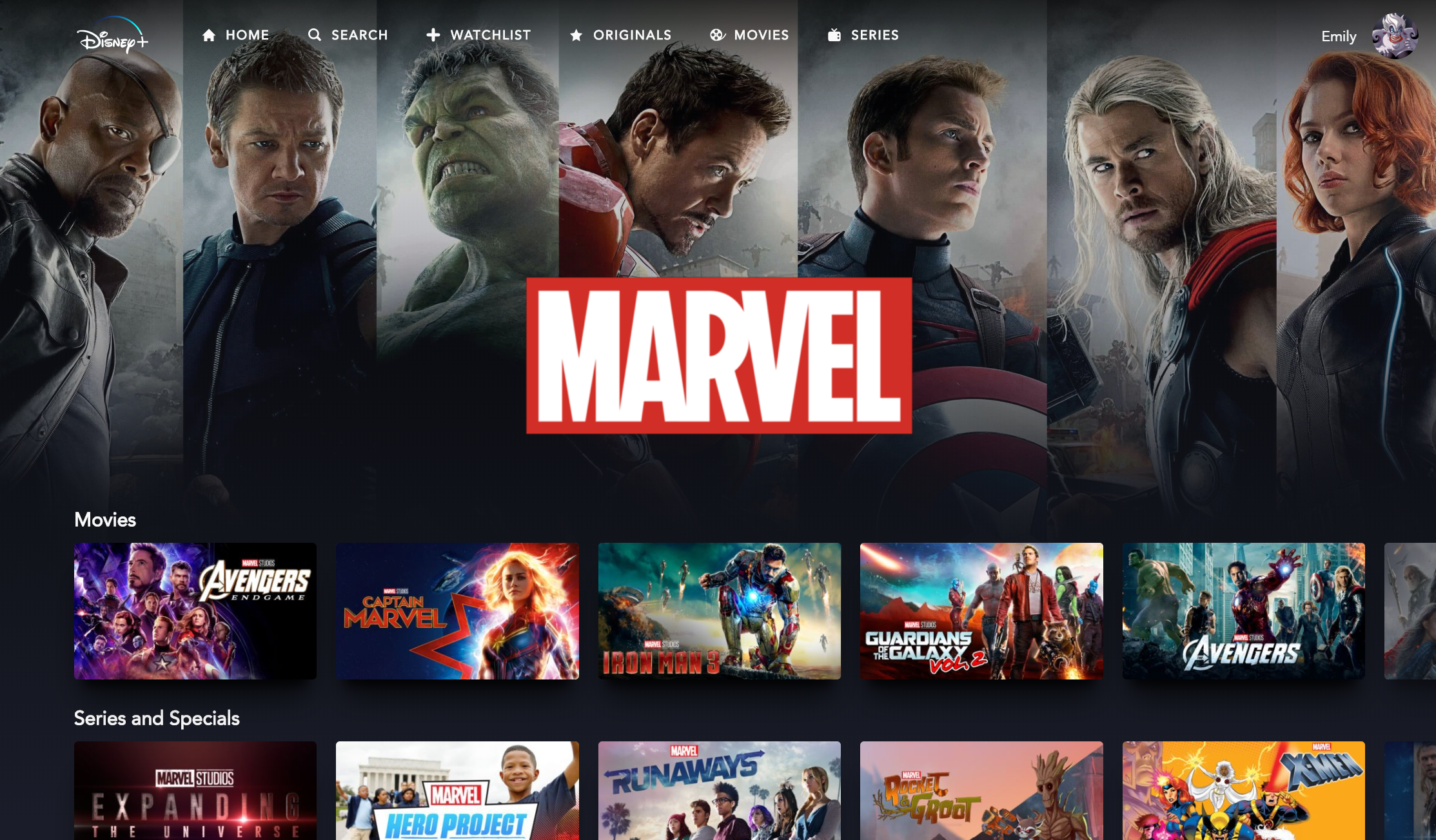 A screenshot of the Marvel landing page.