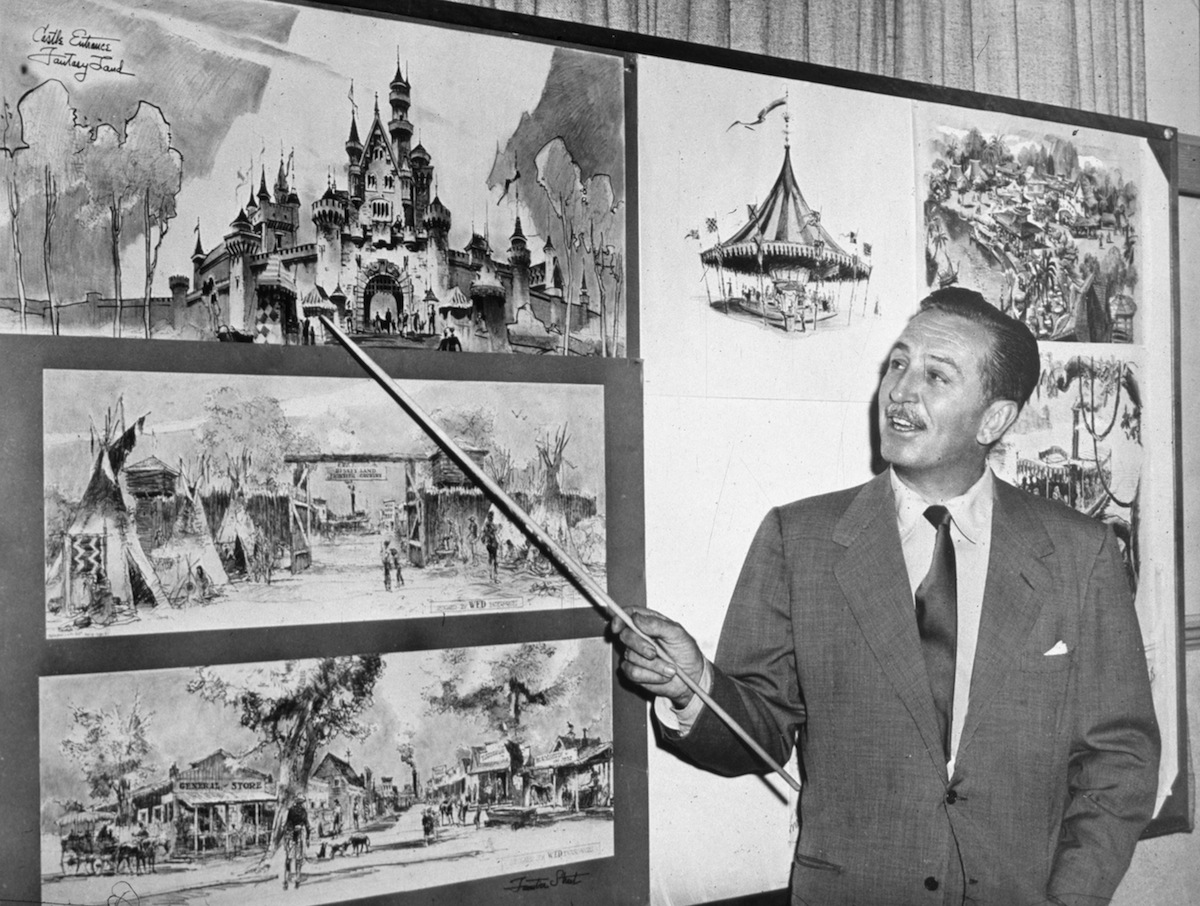Walt Disney showcases plans for Disneyland, a theme park built for both parents and their children.