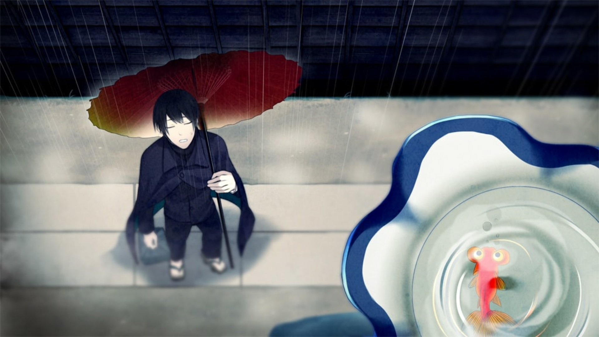 Minakami appears with an umbrella in the rain.
