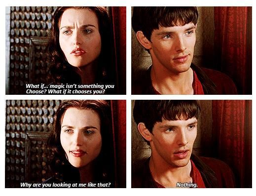 Mergana photo collage; Merlin reassures Morgana about magic