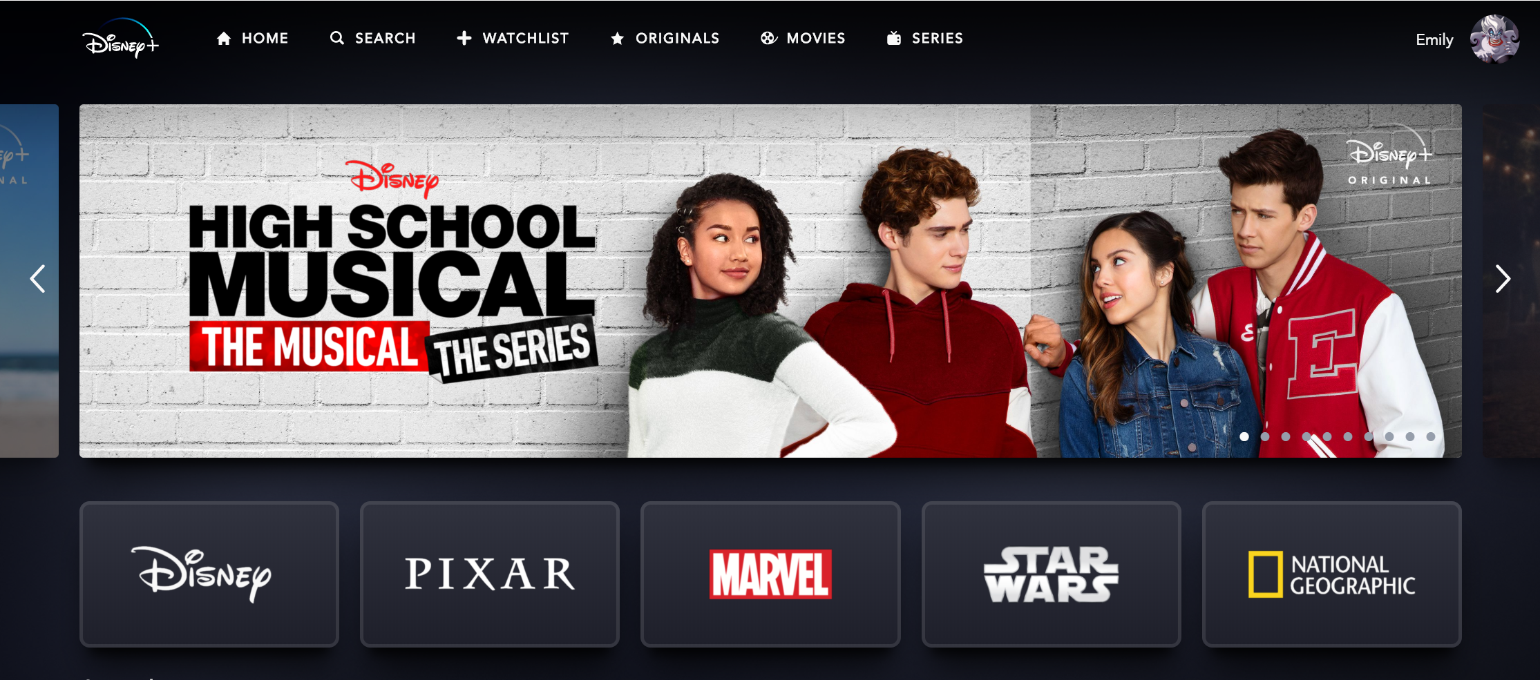 A screenshot of the heading of Disney+ with an advertisement for High School Musical The Series across the top.