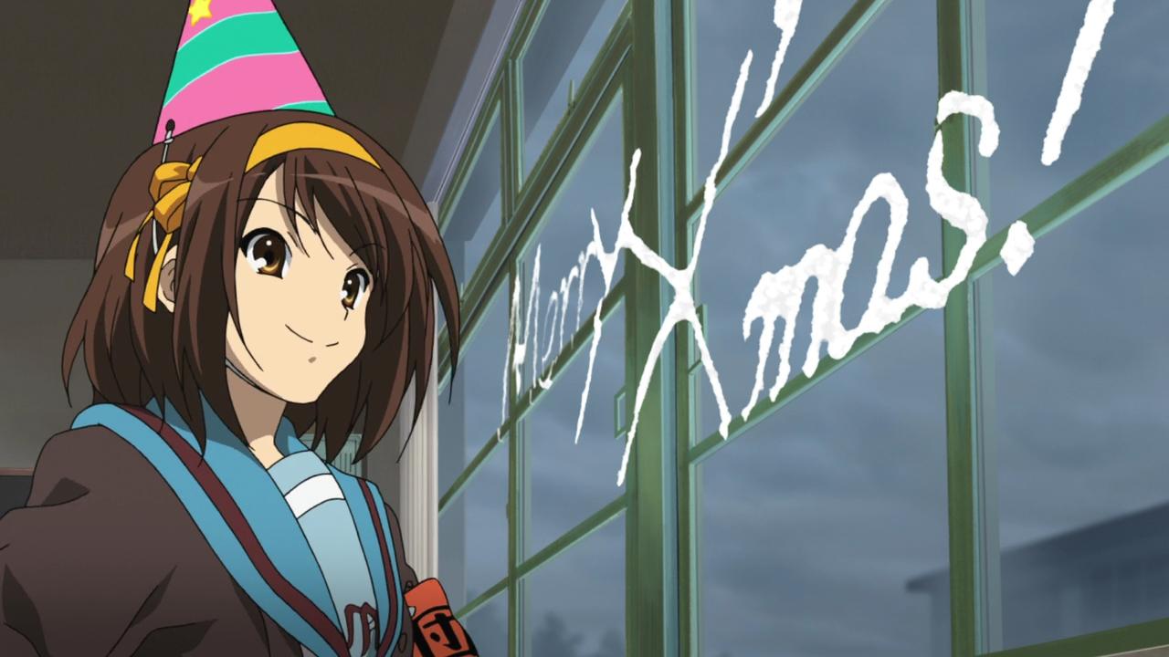 Haruhi Suzumiya writing Merry X Mas on the windows