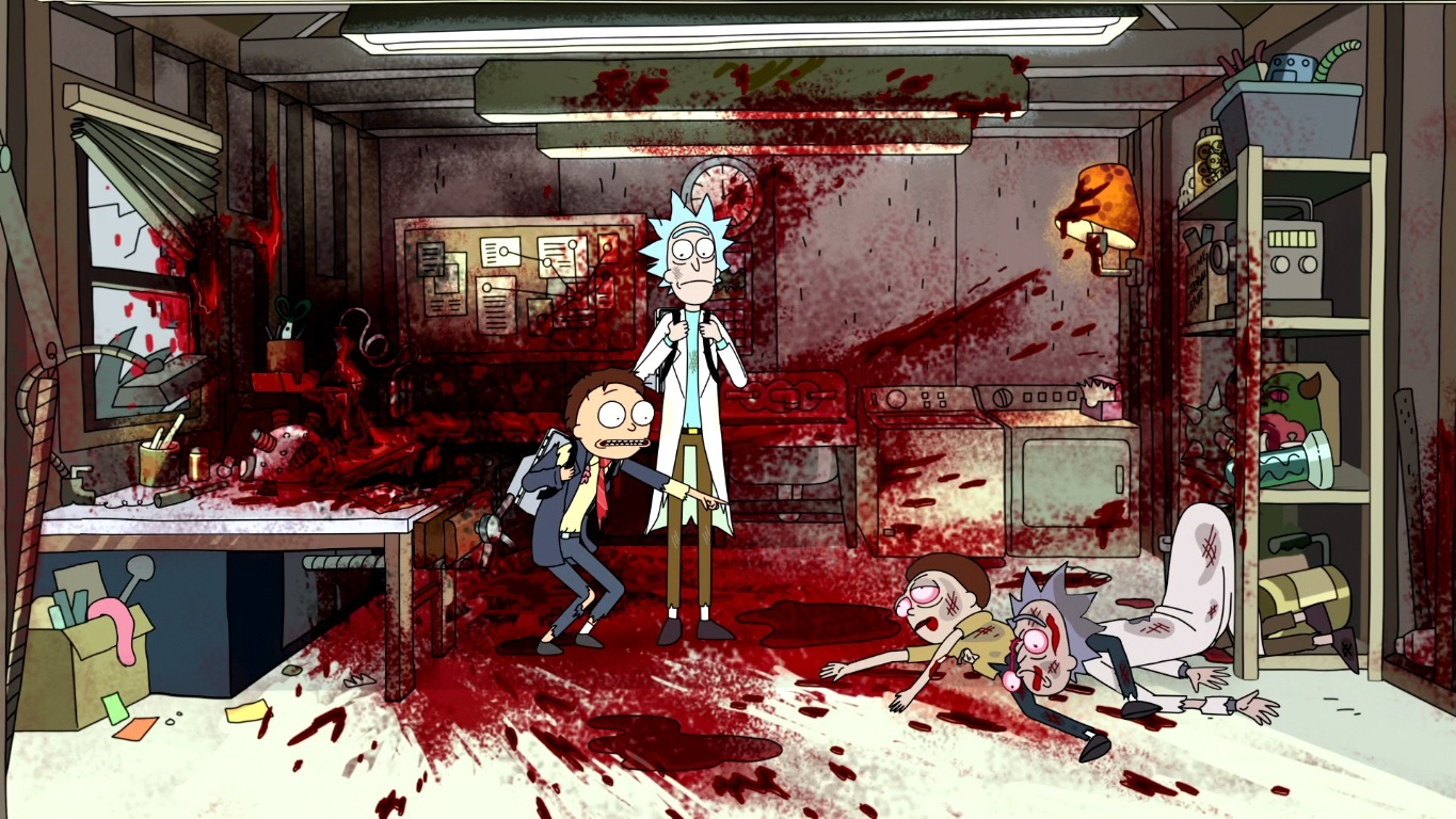 Rick and Morty discovering the alternate universe where they died.
