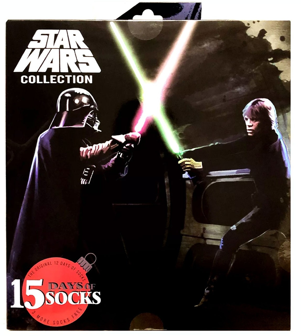 Darth Vader and Luke Skywalker fighting on a cover of a box of socks.
