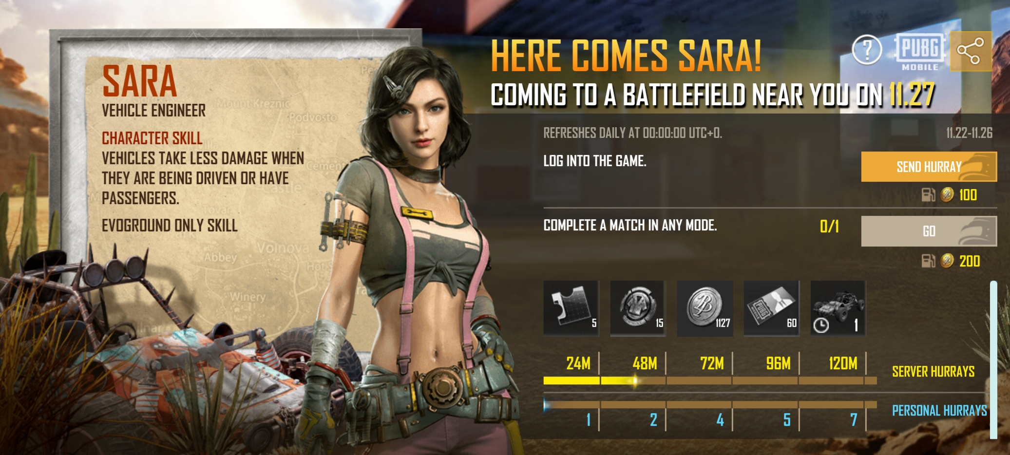 PUBG Mobile places a notice for a new character, Sara.