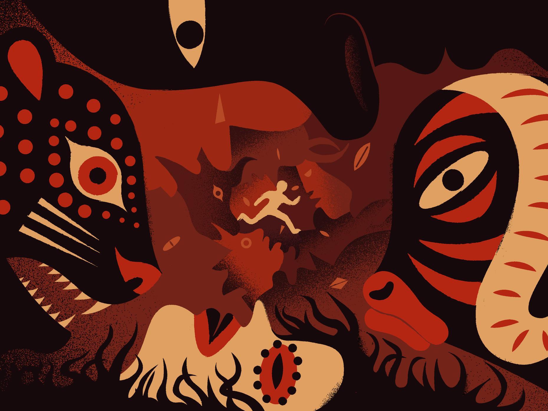 Fan art of Black Leopard Red wolf.
