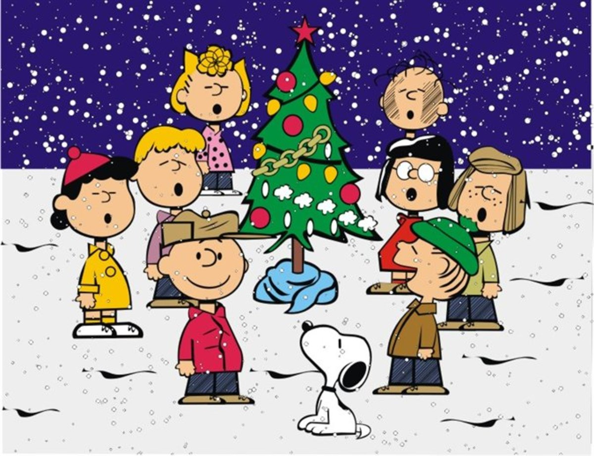 The characters of Charlie Brown singing around a Christmas tree for the holiday season.