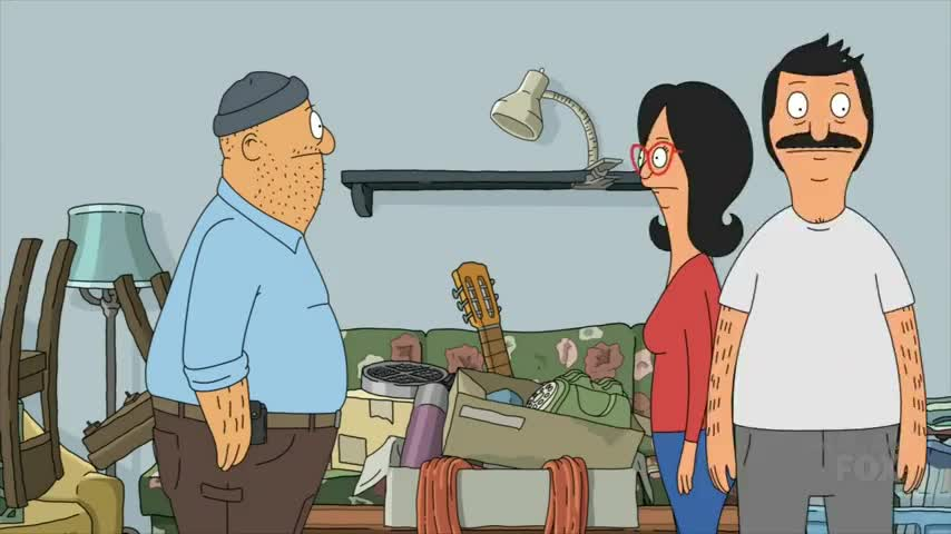 "In ""Bob's Burgers'"" sixth Thanksgiving special, Bob and Linda survey Teddy's cluttered house."