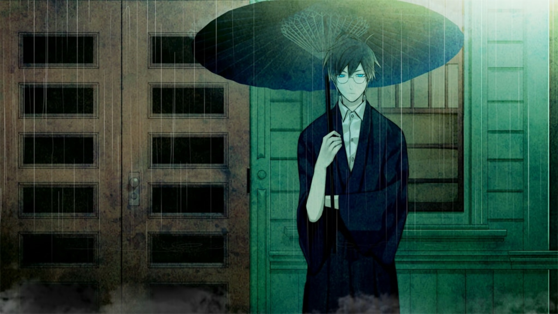 Escapism in Old Book Town: Tamamori holding an umbrella in the rain.