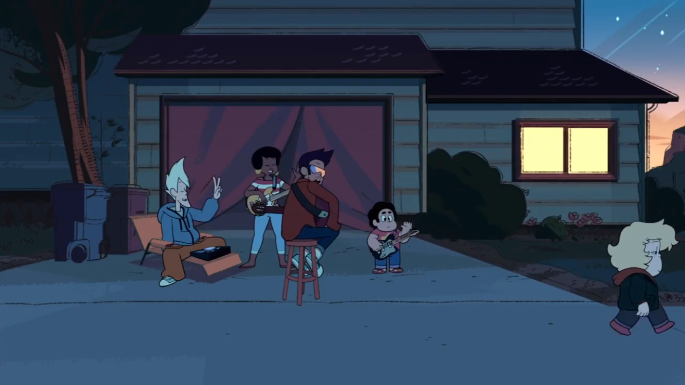 The character walking past Steven Universe and the Cool Kids looking sad
