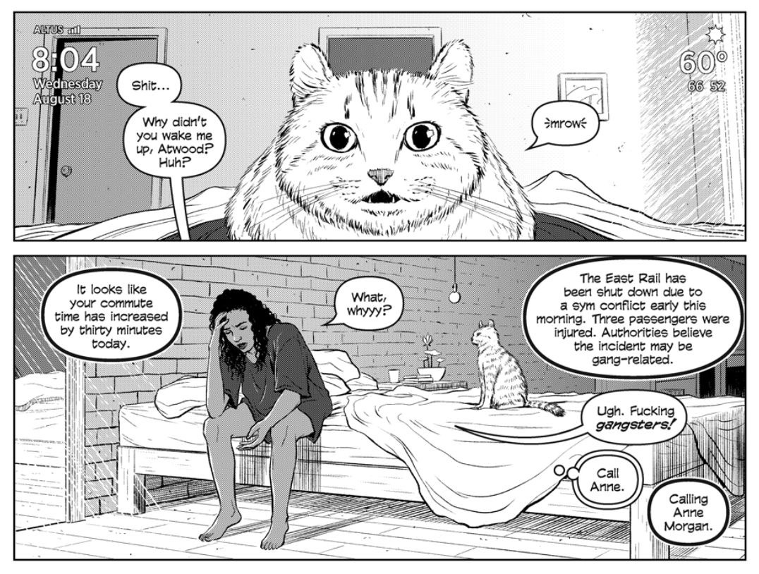 Meria's cat, Atwood, meows in Meria's bed. An unknown voice explains the traffic to Meria on page 5 of 20XX #1.