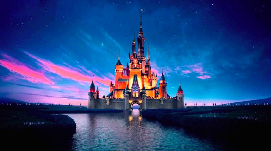 One of Disney logos, including Cinderella's Castle.