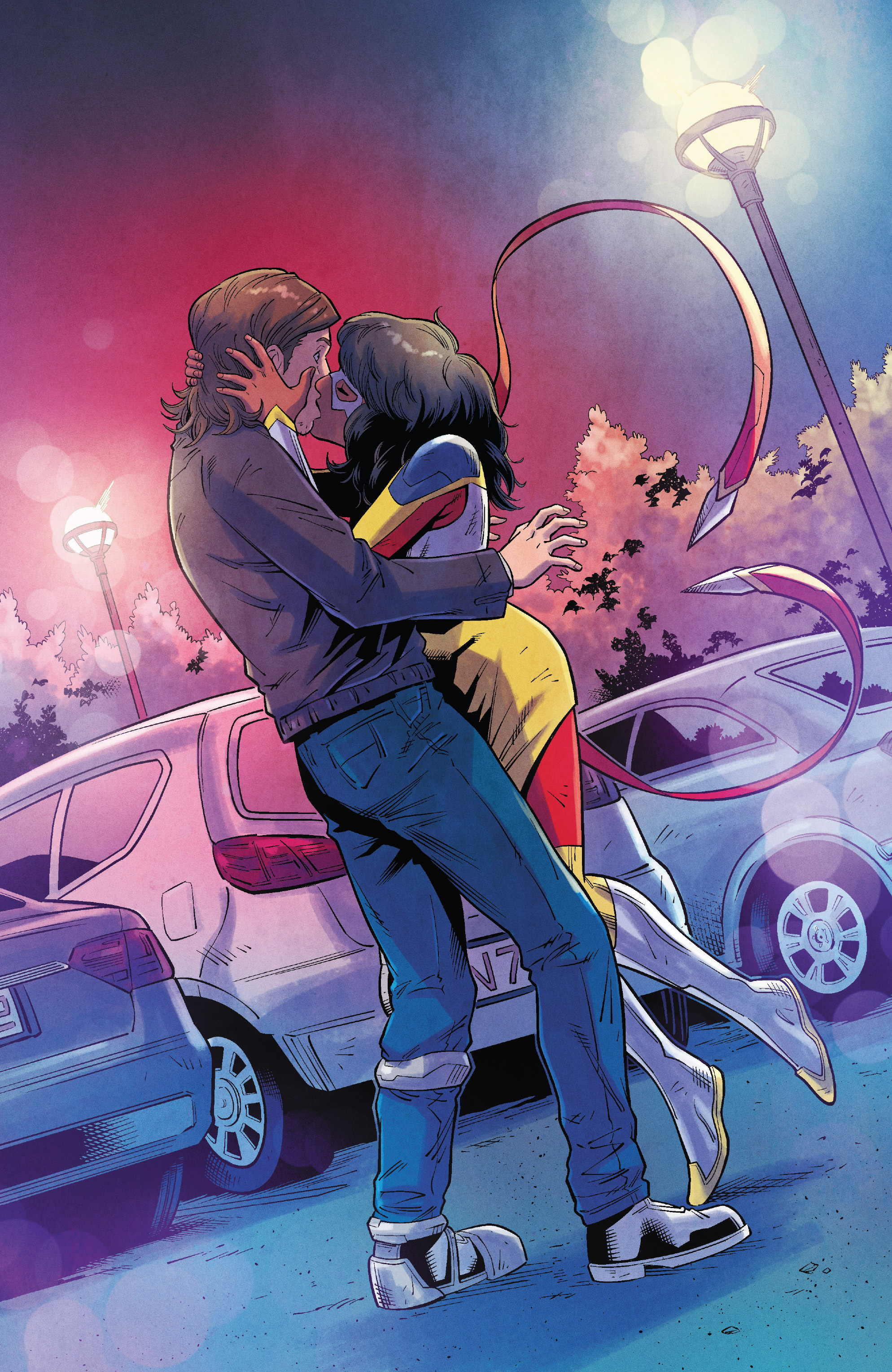 The Magnificent Ms Marvel #9: Page 19, Kamala kisses Bruno.