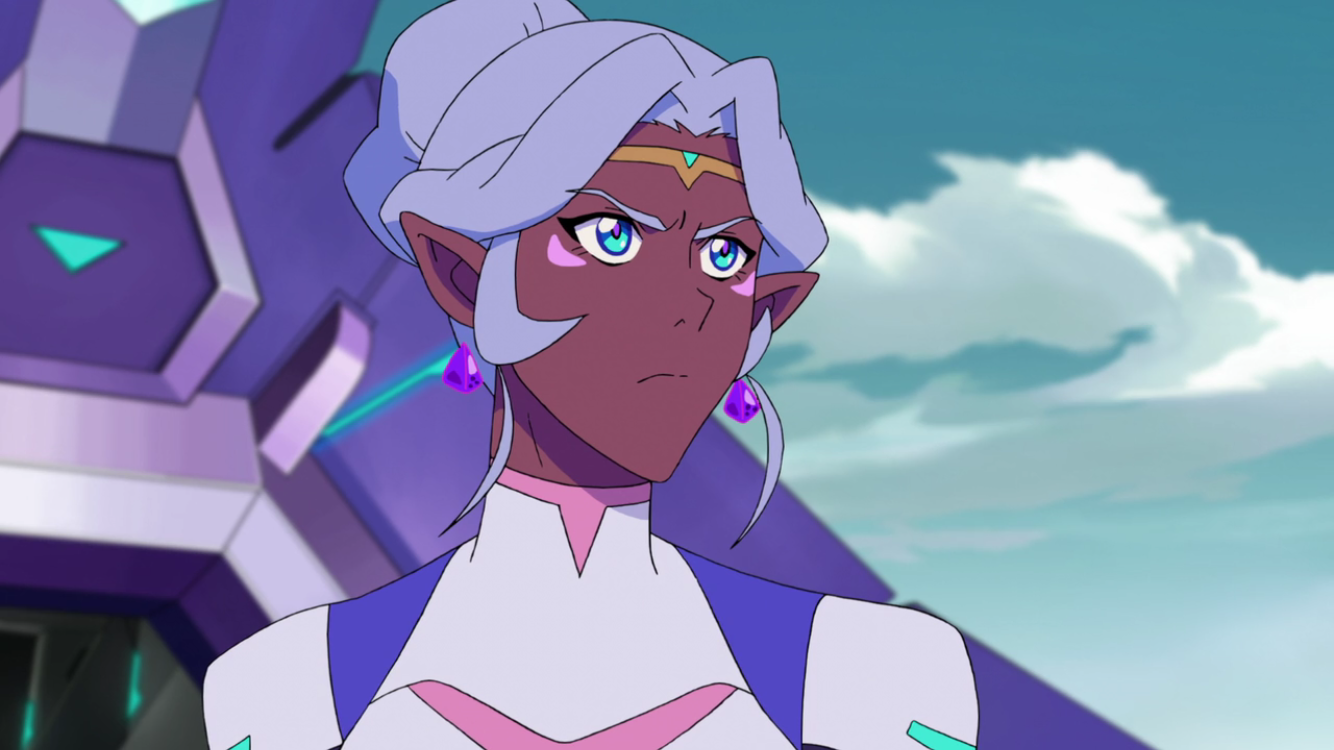 Princess Allura watching with a blank stare.