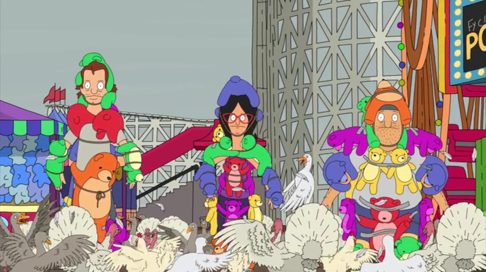 "In ""Bob's Burgers'"" third Thanksgiving special, Mickey, Linda, and Teddy charge through the birds, wearing stuffed bears as armor."