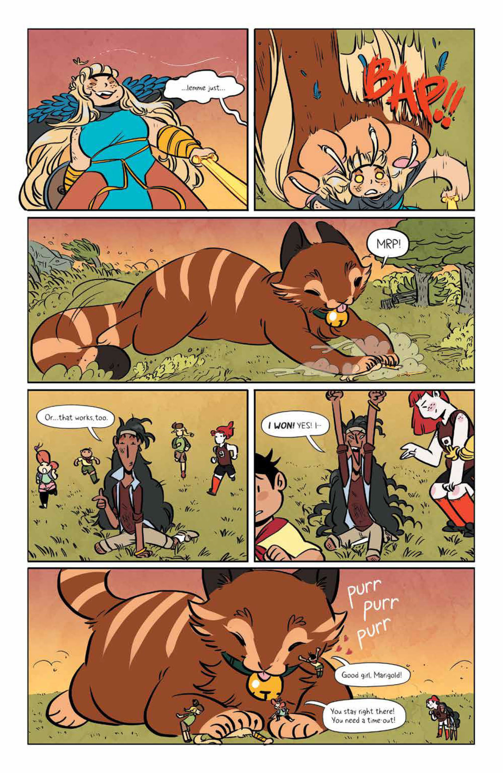 Freya is stepped on by Marigold on page 7 of Lumberjanes #68