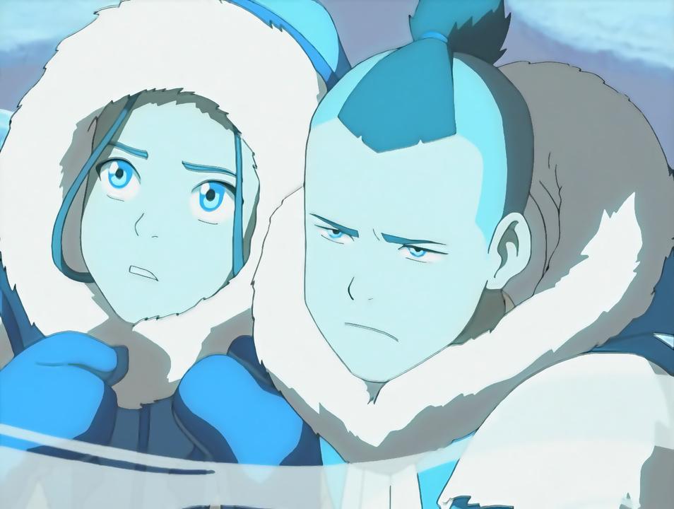 Sokka protects his sister Katara.