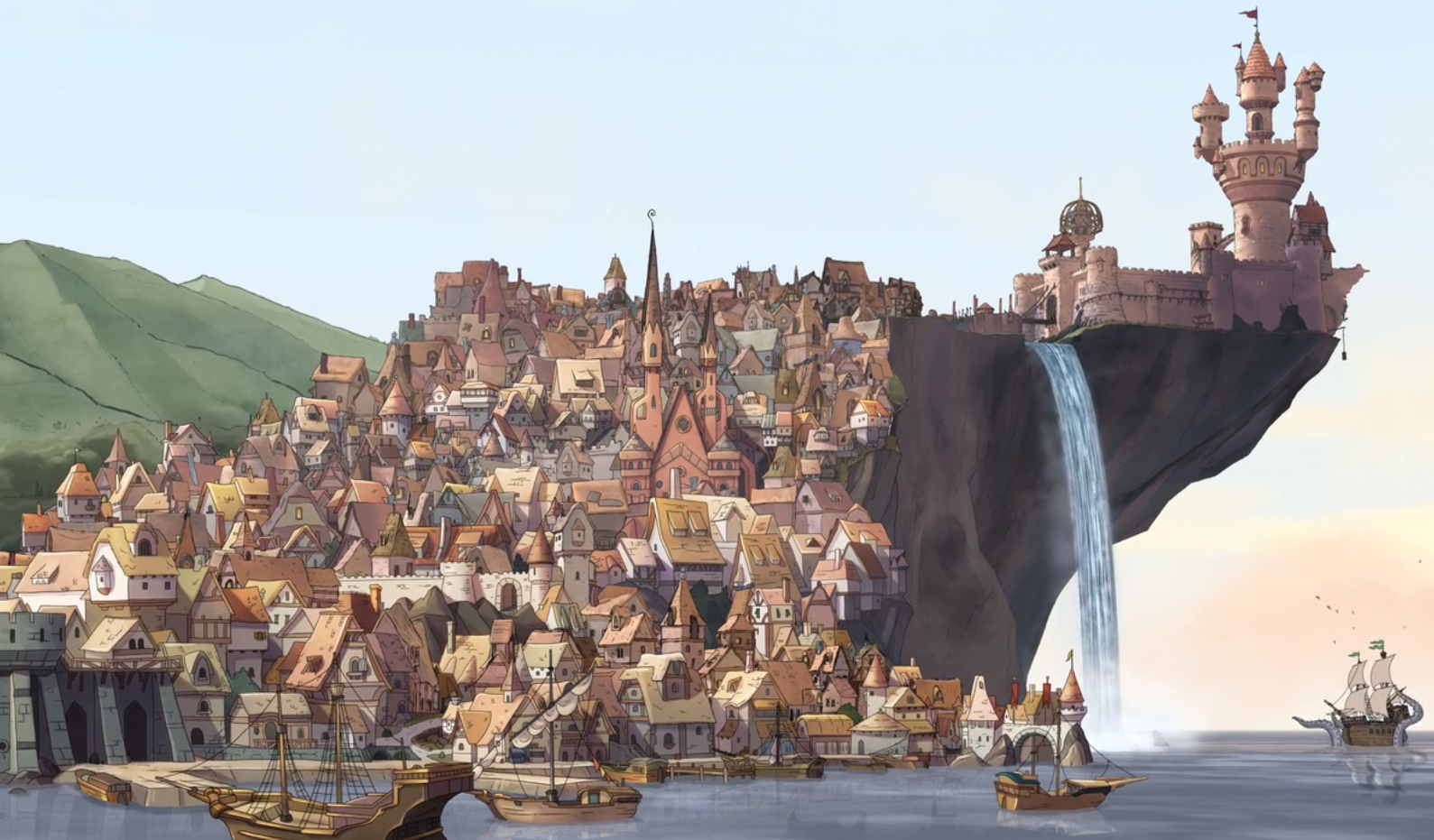 A view of Dreamland -- Disenchantment's main setting -- at dusk; a castle, a waterfall, and a seaside village.