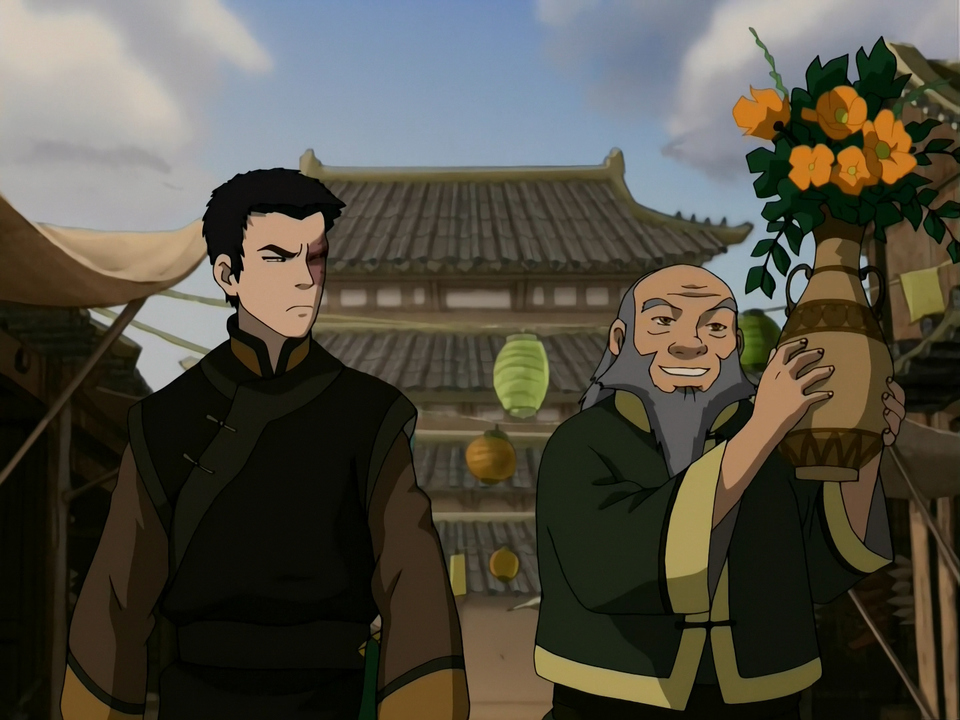 Zuko and Iroh in the Earth Kingdom.