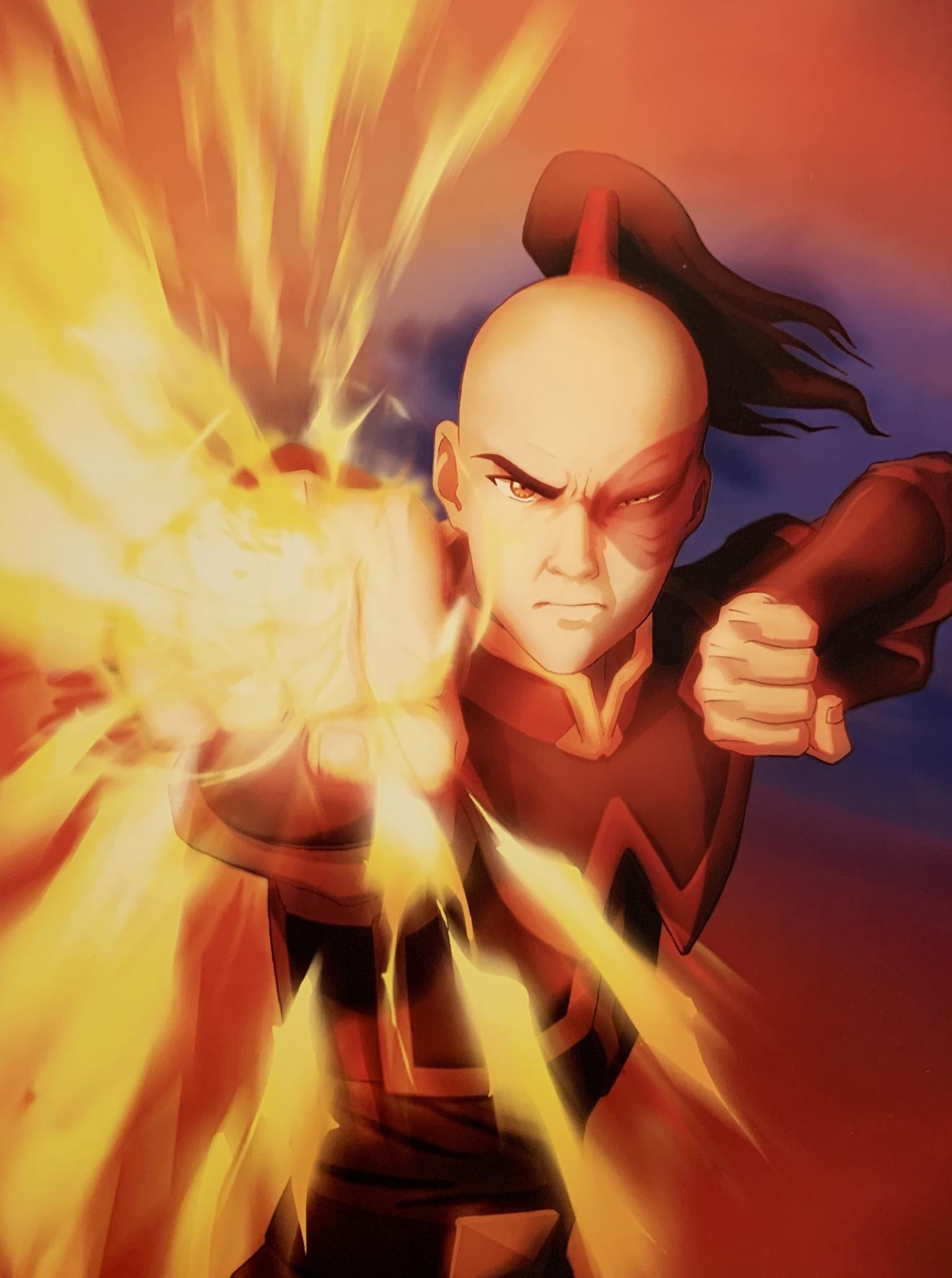 Prince Zuko bending fire in front of himself with his fire nation attire, still being seen as a villain.