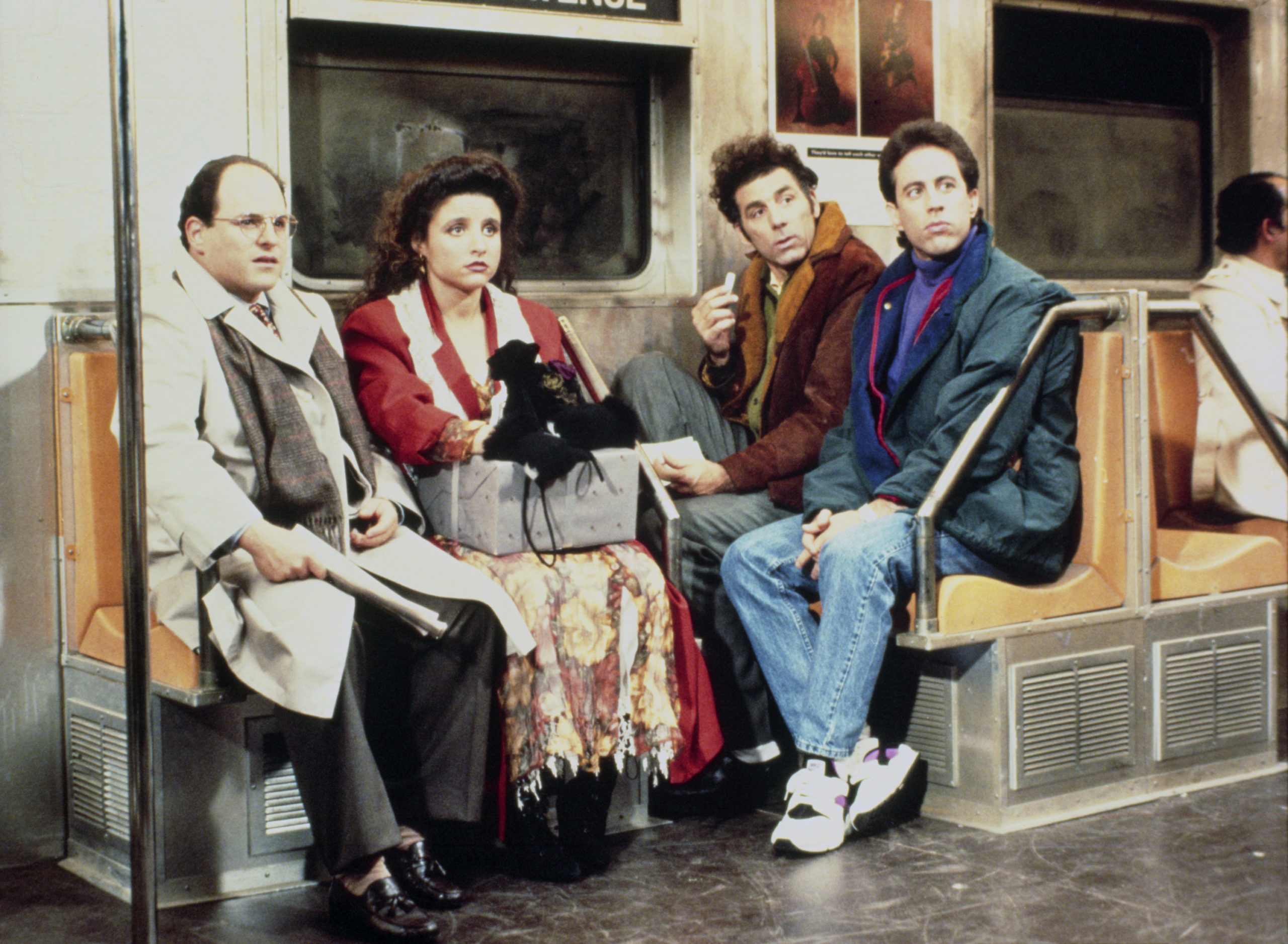 Seinfeld and friends on New York subway.