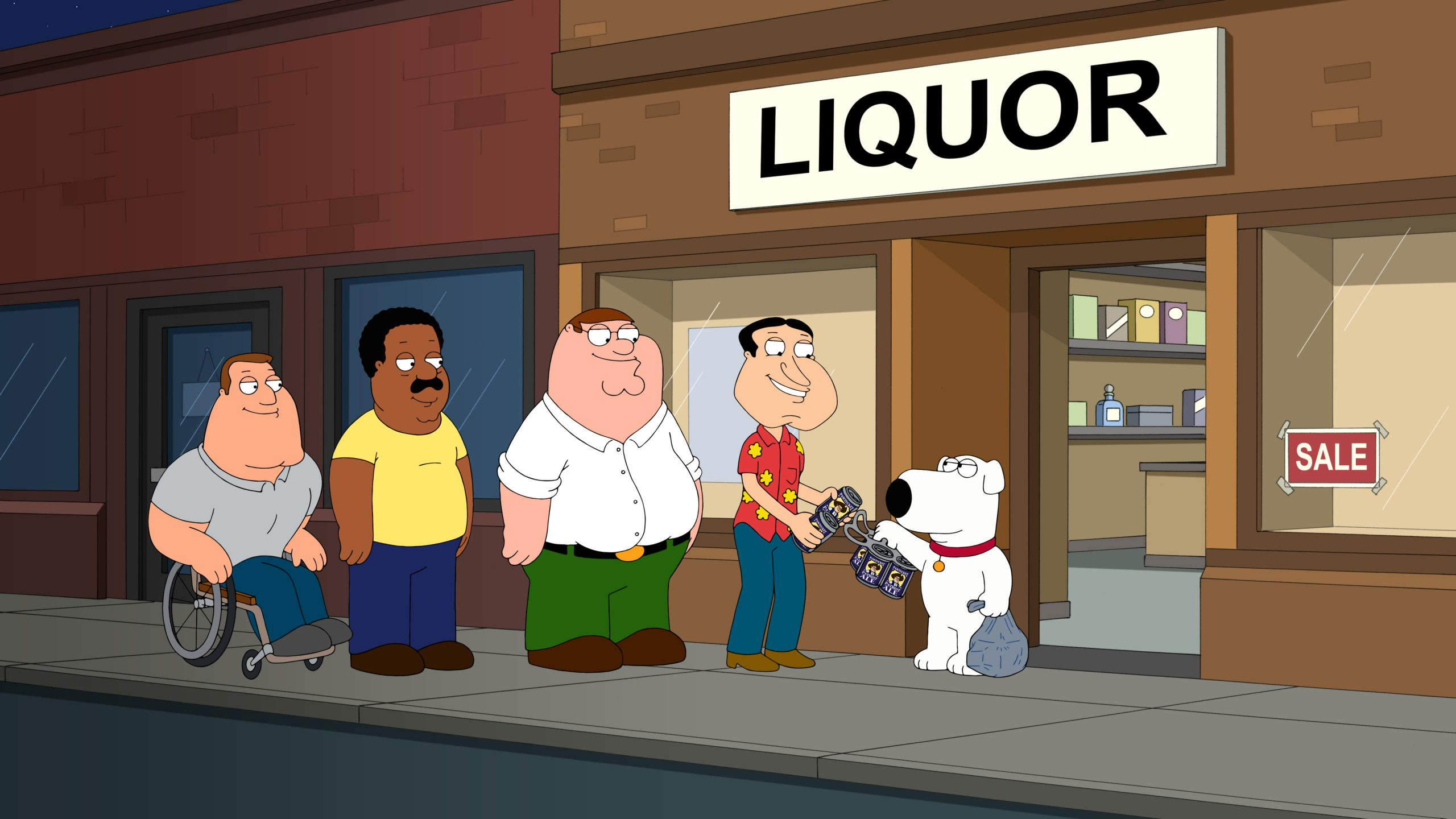 Joe, Cleveland, Peter, Quagmire, and Brian drinking beer.