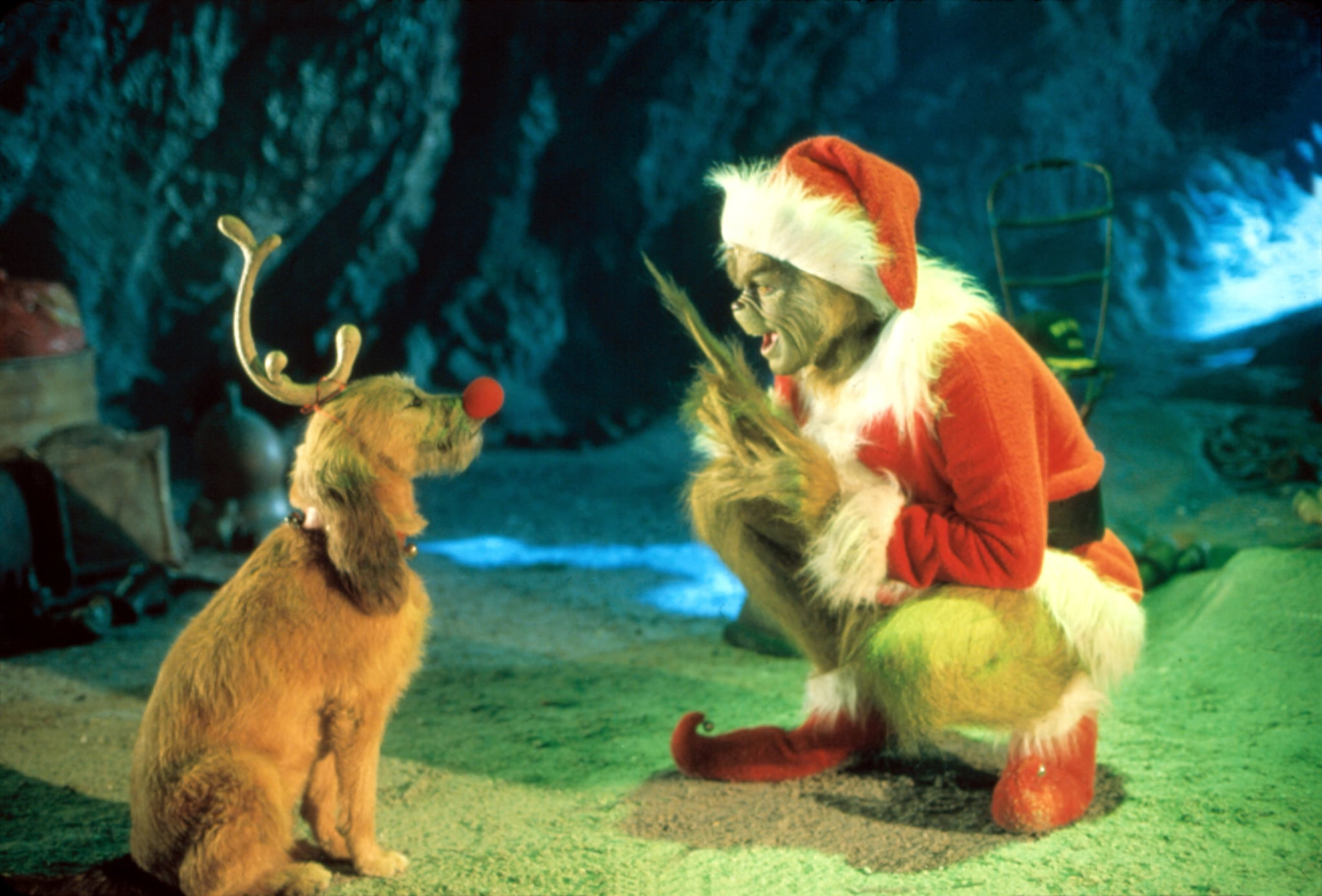 The Grinch and a dog talking.