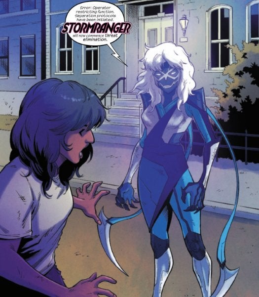 The Magnificent Ms Marvel #10: Page 23, To Kamala's surprise, the Kree nanosuit reforms into Stormranger.