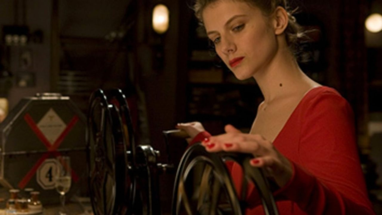 Shosanna preparing the film in inglorious basterds.