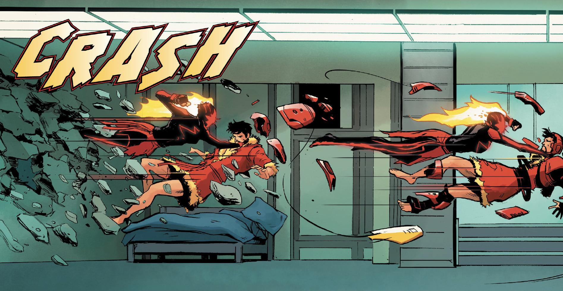 Carol Danvers (Captain Marvel) punches Tony Stark through a wall in Captain Marvel #13